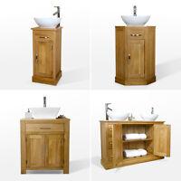 Solid Oak Vanity Unit | Bathroom Wash Stand Cloakroom Corner Basin Sink Tap