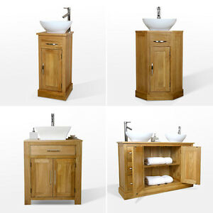 Image Is Loading Solid Oak Vanity Unit Bathroom Wash Stand Cloakroom