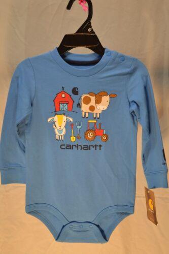 Carhartt 1pc Shirt Blue CA8734 Farm Animals /& Tools Infants//Babies//Kids NWT