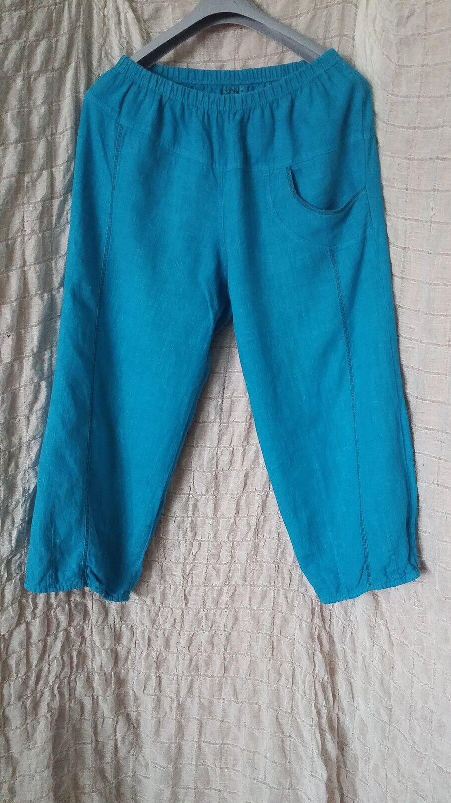 Uno Danmark turquoise bluee 100% linen baggy wide leg trousers size 2