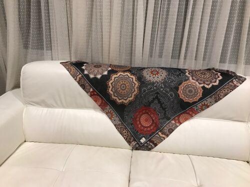 TURC Style Casual Noir-en coton mélangé marron écharpe 37x37 pouces