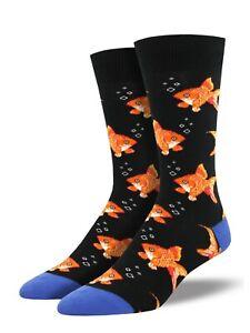 Socksmith-Mens-Gent-Boys-Goldfish-Fish-Novelty-7-12-Black-Socks-Gift-LilyRosa