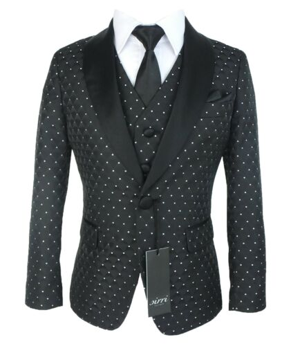 Boys Black Polka Dot Tuxedo Suit Quilted Satin Lapel Wedding Page Boy Prom Suits