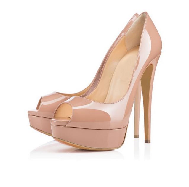 Ladies High Heel Stilettos Platform Patent Leather Peep Toe Sandals Party shoes