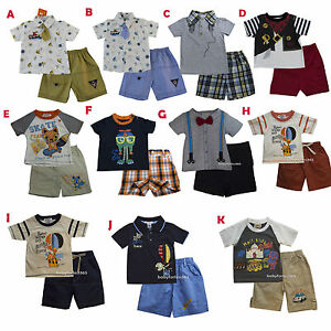 BABY BOYS 2PC SHORT SLEEVE TOP /& PLAID SHORTS SET SIZES 12 THRU 24 MOS  NWT