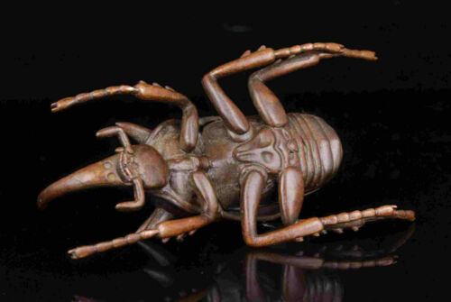 China Hand-Carved Lifelike Red Copper Insect Statues Tabletop Decorations