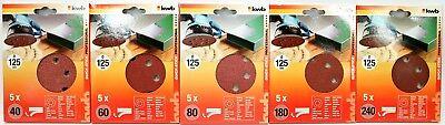 KWB 5x Quick-Stick Schleifscheiben gelocht Schleifpapier Korund Ø 115mm K40-K240