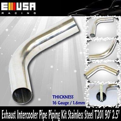 "T201 SS 90° 2.5/"" 16Gauge Piping Intercooler Header Exhaust Downpipe"