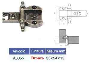 Cerniera Per Ante In Luce Tipo Scodellino Con D.35 Ottone O Bronzo