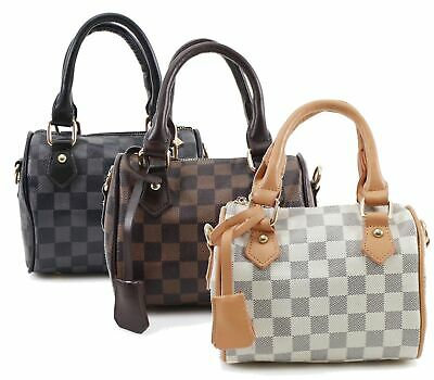 Ladies Check Print Duffel Style Handbag Barrel Shape  Bags Shoulder Strap Medium