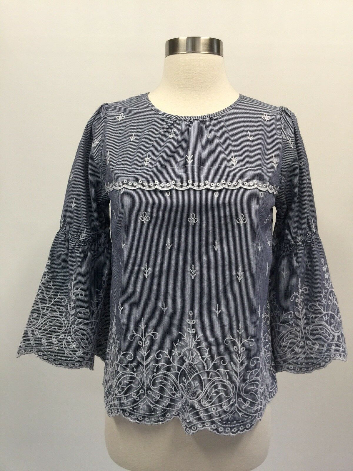 NWT J. Crew Petite embroidered bell-sleeve top in striped poplin XS PXS H6331