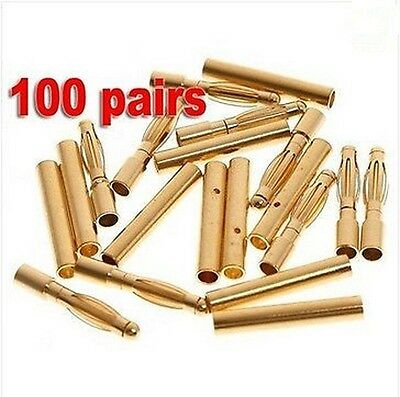 100 pairs 2.0mm 2mm Gold Bullet Connector plug