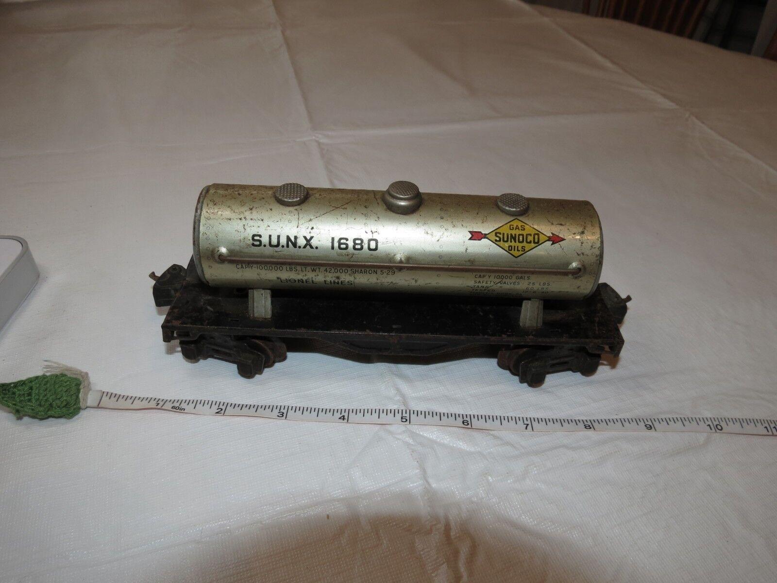 Lionel Trains Linien Zug Auto S. U. N. X.1680 Gas Sunoco Öle Jahr top Selten