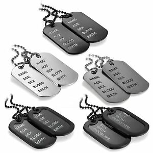 Men-039-s-Simple-Army-Military-Black-Alloy-ID-2-Dog-Tags-Pendant-Necklace-Chain-Gift