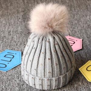 627037cfa6fb Toddler Kids Girl   Boy Baby Winter Warm Pompom Crochet Knit Hat ...