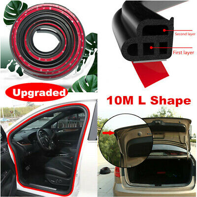 10M L-Shape Double Layer Rubber Seal Sealing Strip For Car Door Trunk Hood Edge