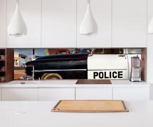Aufkleber Küchenrückwand Auto Polizei Vintage Folie Spritzschutz ...