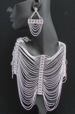 New Women Shoulders Chest Chain Fashion Jewelry Silver Metal Rhinestones Starnds