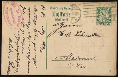 Bayern Ganzsache: P 100/01 Antwortteil Nürnberg -> Meerane #27979 QualitäT Und QuantitäT Gesichert