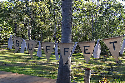 *BUFFET*BURLAP BUNTING RETRO VINTAGE SHABBY FRENCH PARTIES RUSTIC PHOTO PROP
