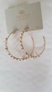 Freedom At Topshop Gold Pearl Hoop Earrings