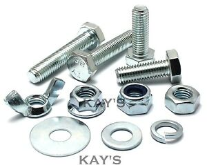"Bolt Nut /& Washer Pk 10 Cup Head 1//2/"" BSW Half Inch Zinc Plated"
