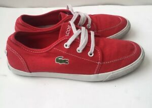 how to buy best online available Details about Boys LACOSTE Shoes Size 2 Red Deck Trainers Boating Plimsolls  Loafers