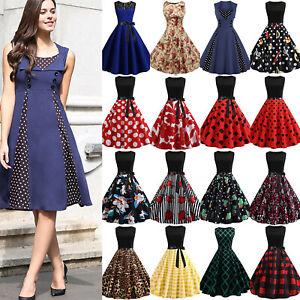 Womens-50s-60s-Hepburn-Rockabilly-Pinup-Swing-Summer-Party-Formal-Dress-Costume