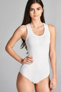 Bodysuit-Zenana-tank-top-sleeveless-V-neck-casual-cotton-stretch-solid-white