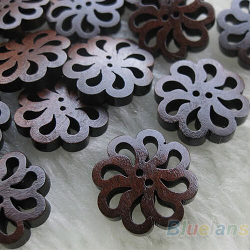 40 Pcs Hollow Folwer Round 2-Holes Sewing Scrapbooking DIY Wooden Buttons