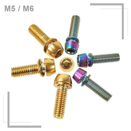 KRSEC M5//M6 Screws 6pcs 18mm For MTB Road Bike Stem Lightweight Gold//Rainbow