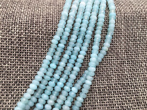4x6mm Blue Aquamarine Faceted Roundel Gems Loose Beads 15/'/' AAA