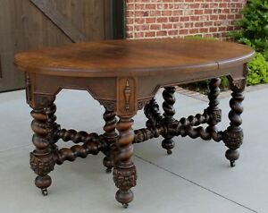 Antique English Oak BARLEY TWIST OVAL Jacobean Dining Farm Table - Oval farm table