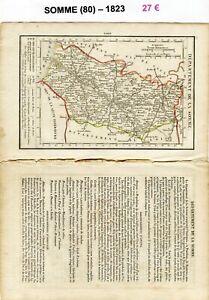 Vente Professionnelle Dépt 80 - Xix ème Siècle Belle Petite Carte Avec 2 Pages De Renseignements 1823 Le Prix Reste Stable