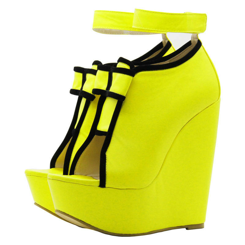 Womens Shiny Patent Leather Leather Leather Open Toe Wedge High Heels Platform Sandals SHoes New 44cd0b