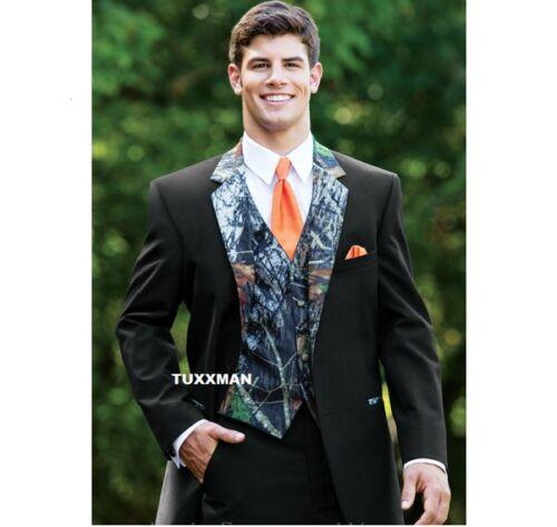 Mossy Oak Tuxedo Vest Tall Orange Euro tie FREE Hankie Shipping REAL POCKETS
