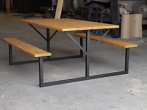 Image Is Loading Dining Table And Benches Rustic Picnic Bench Style