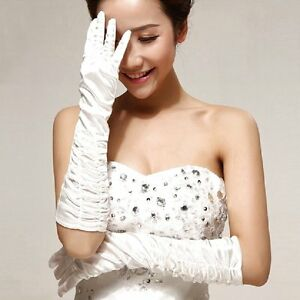 Satin-Gants-Mariee-Gants-Plisse-Blanc-Mariage-Purement-Blanc-Neuf