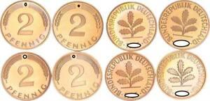 2 Pfennig 1986 D,f,g,J 4 Münzen komplett PP 56487