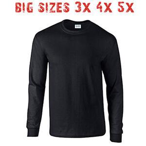 Big 3x 4x 5x men 39 s long sleeve t shirt plain blank unisex for 3x shirts on sale