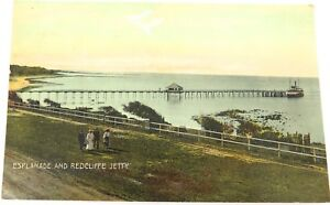 c1910-REDCLIFFE-ESPLANADE-amp-REDCLIFFE-JETTY-COLOUR-POSTCARD-EDCO-SERIES-1496
