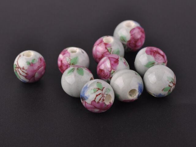 10PCS10mm Round Porcelain Ceramic Loose Spacer Bead Findings  Light Grey Purple