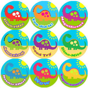 144-BIG-colorata-Dinosauro-30mm-Children-039-s-Reward-Adesivi-Per-Insegnante-Padre