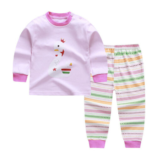 Infant Kids Pajamas Outfit Suits Baby Unisex Long Pajamas Outfit Top+Pants