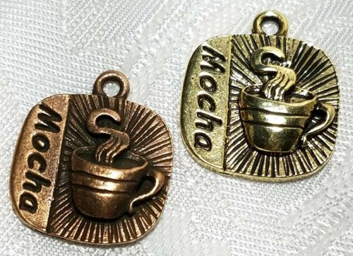 MOCHA COFFEE FINE PEWTER PENDANT CHARM  3x20x17mm