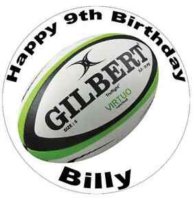 Rugby Ball Personalised Cake Topper Edible Wafer Paper 7.5 ...