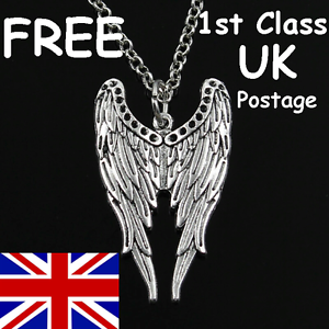 LENGTHS ANGEL WINGS SILVER TONE CHAIN PENDANT NECKLACE 40cm to 80cm