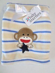 98b47a074f Baby Starters Baby Boys Sock Monkey Striped Blanket White Tan Blue ...