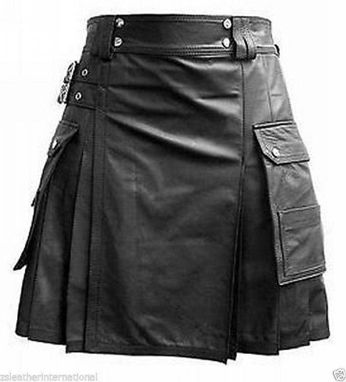 Mens Genuine Cow Black Leather Pleated Kilt / LARP 2 Cargo Pockets Custom Size