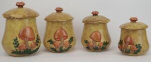 Vintage-Handmade-Authentic-Arnels-Ceramic-Mushroom-4-Piece-w-Lds-Canister-Set